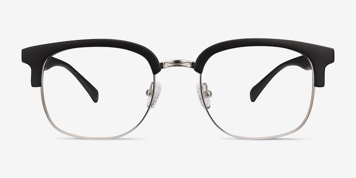 Yokote Matte Black Plastic Eyeglass Frames from EyeBuyDirect, Front View