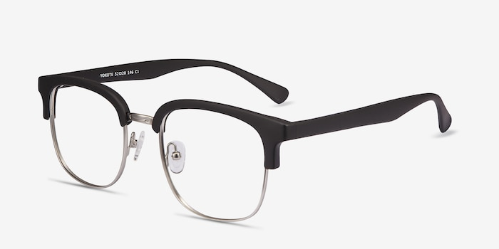 Yokote Matte Black Metal Eyeglass Frames from EyeBuyDirect, Angle View