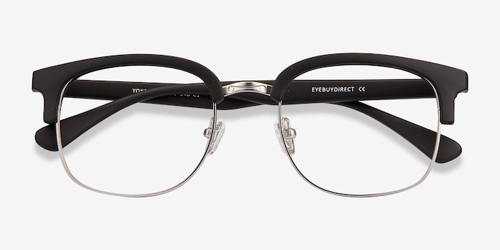 Yokote Matte Black Metal Eyeglass Frames from EyeBuyDirect, Closed View