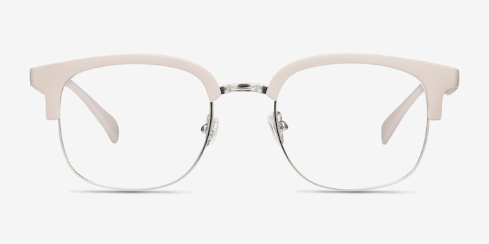 Yokote Gray Metal Eyeglass Frames from EyeBuyDirect, Front View