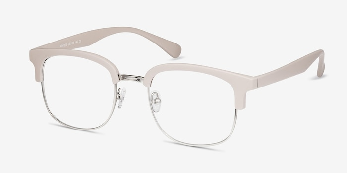 Yokote Gray Metal Eyeglass Frames from EyeBuyDirect, Angle View