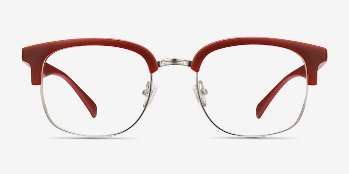 Yokote Matte Burgundy Metal Eyeglass Frames from EyeBuyDirect, Front View