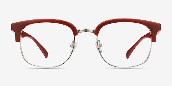 Yokote Matte Burgundy Plastic-metal Eyeglass Frames from EyeBuyDirect, Front View