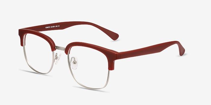 Yokote Matte Burgundy Plastic-metal Eyeglass Frames from EyeBuyDirect, Angle View