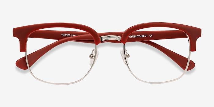 Yokote Matte Burgundy Plastic-metal Eyeglass Frames from EyeBuyDirect, Closed View