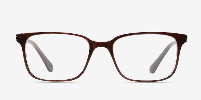 November Brown Clear  Plastique Montures de Lunettes d'EyeBuyDirect, Vue de Face