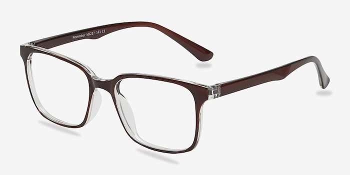 November Brown Clear  Plastique Montures de Lunettes d'EyeBuyDirect, Vue d'Angle