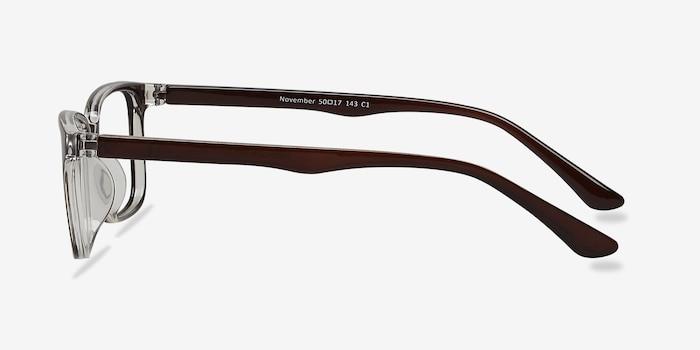 November Brown Clear  Plastique Montures de Lunettes d'EyeBuyDirect, Vue de Côté