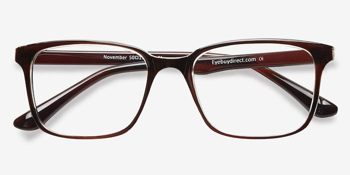 November Brown Clear  Plastic Eyeglass Frames from EyeBuyDirect, Closed View