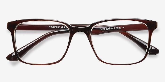 November Brown Clear  Plastique Montures de Lunettes d'EyeBuyDirect, Vue Rapprochée