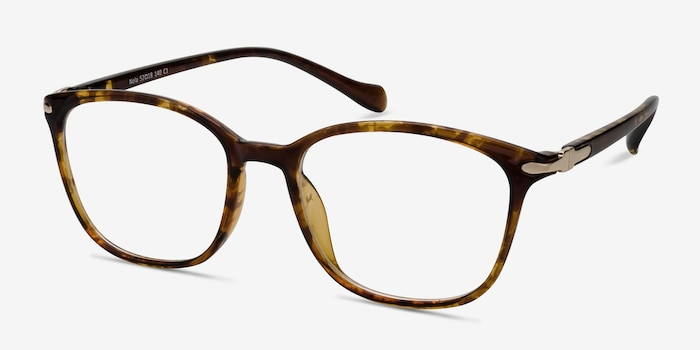 Nola Brown Plastic Eyeglass Frames from EyeBuyDirect, Angle View