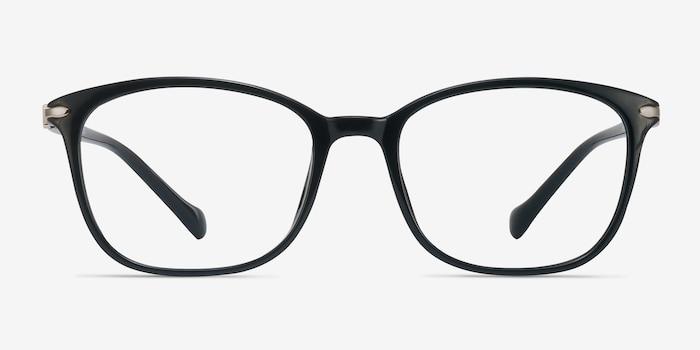 Nola Noir Plastique Montures de Lunettes d'EyeBuyDirect, Vue de Face