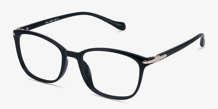 Nola Black Plastic Eyeglass Frames from EyeBuyDirect, Angle View