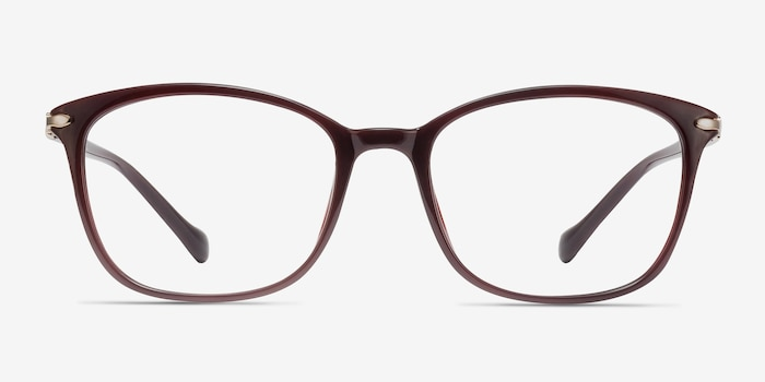 Nola Dark Red Plastic Eyeglass Frames from EyeBuyDirect, Front View