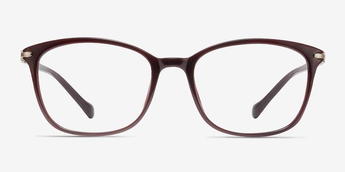 Nola Dark Red Plastic Eyeglass Frames from EyeBuyDirect, Front View
