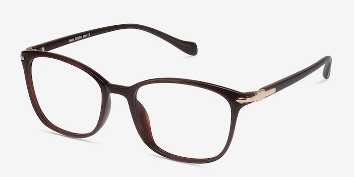 Nola Dark Red Plastic Eyeglass Frames from EyeBuyDirect, Angle View