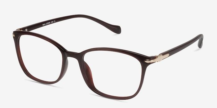 Nola Dark Red Plastic Eyeglass Frames from EyeBuyDirect, Angle View