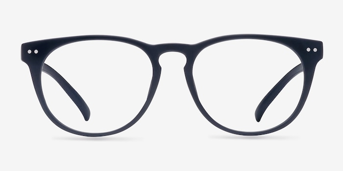 Brick Lane Matte Navy Plastic Eyeglass Frames from EyeBuyDirect, Front View