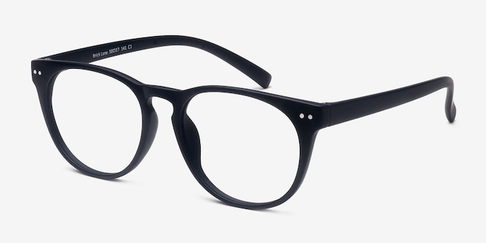 Brick Lane Matte Navy Plastic Eyeglass Frames from EyeBuyDirect, Angle View