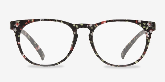 Brick Lane Matte Floral Plastic Eyeglass Frames from EyeBuyDirect, Front View