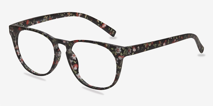 Brick Lane Matte Floral Plastic Eyeglass Frames from EyeBuyDirect, Angle View