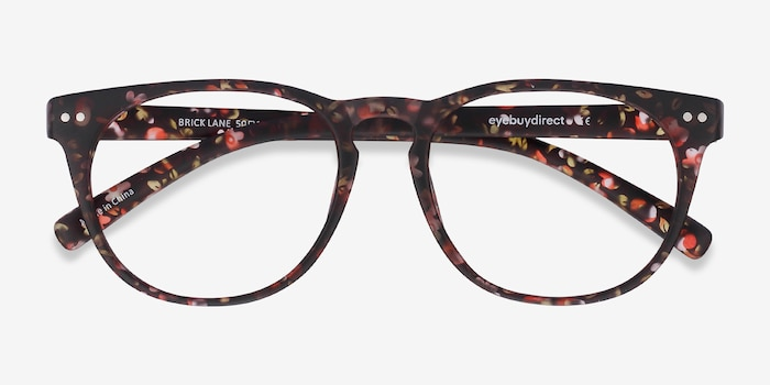 Brick Lane Matte Floral Plastic Eyeglass Frames from EyeBuyDirect, Closed View
