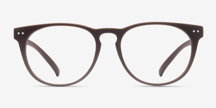 Brick Lane Matte Brown Plastic Eyeglass Frames from EyeBuyDirect, Front View