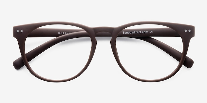 Brick Lane Matte Brown Plastic Eyeglass Frames from EyeBuyDirect, Closed View
