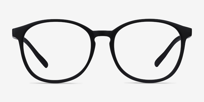 Dutchess Matte Black Plastic Eyeglass Frames from EyeBuyDirect, Front View