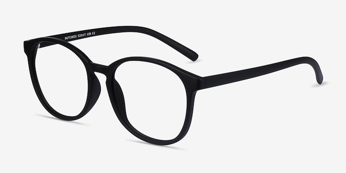 Dutchess Matte Black Plastic Eyeglass Frames from EyeBuyDirect, Angle View