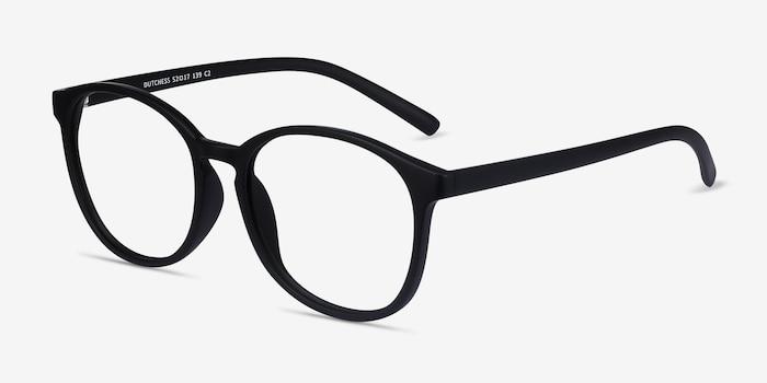 Dutchess Matte Black Plastique Montures de Lunettes d'EyeBuyDirect, Vue d'Angle