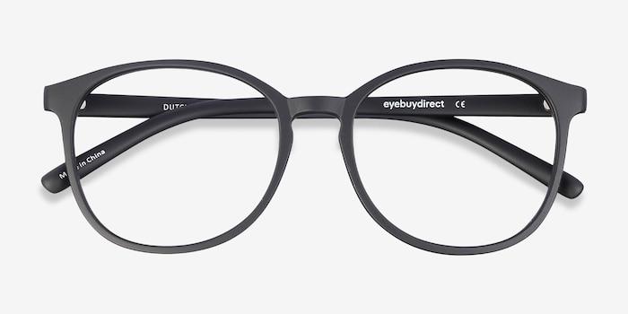 Dutchess Matte Black Plastique Montures de Lunettes d'EyeBuyDirect, Vue Rapprochée