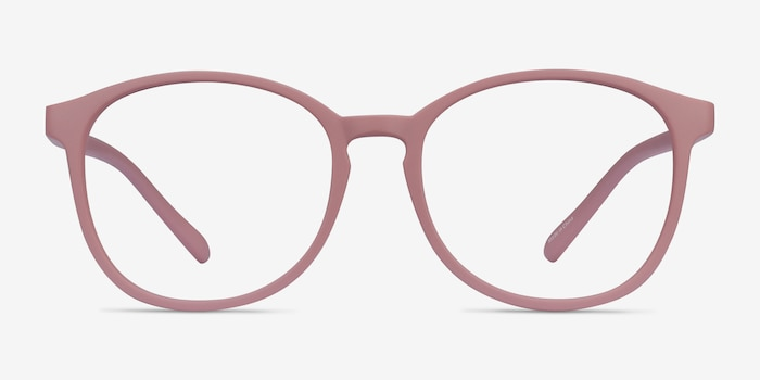 Dutchess Matte Pink Plastic Eyeglass Frames from EyeBuyDirect, Front View