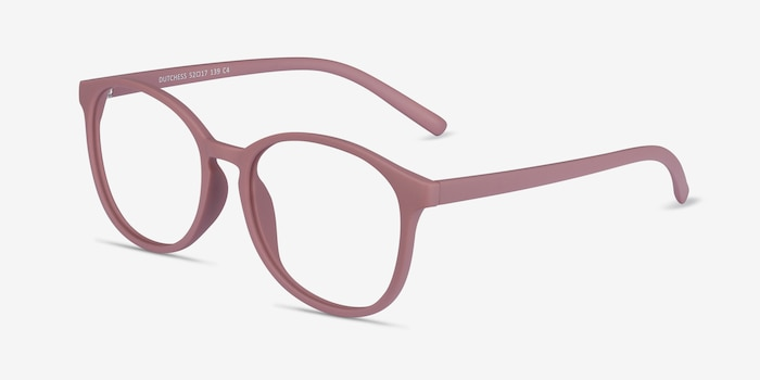Dutchess Matte Pink Plastic Eyeglass Frames from EyeBuyDirect, Angle View