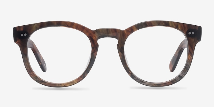 Eloquence Marbled Hazel Acetate Eyeglass Frames from EyeBuyDirect, Front View