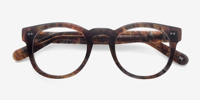 Eloquence Marbled Hazel Acetate Eyeglass Frames from EyeBuyDirect, Closed View