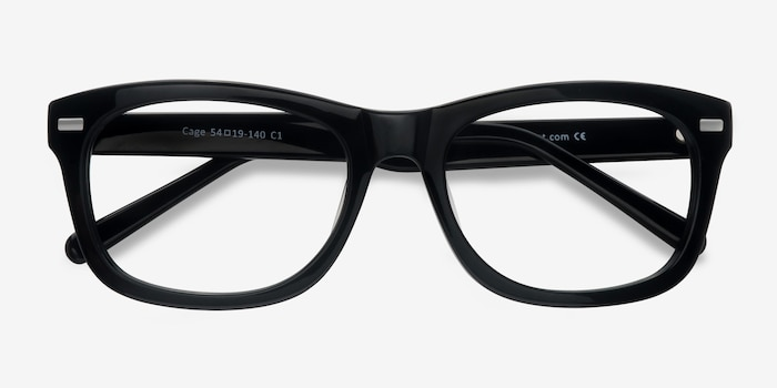 Cage  Black  Acetate Eyeglass Frames from EyeBuyDirect, Closed View