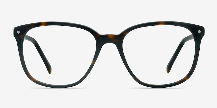 Lisbon Dark Tortoise Acetate Eyeglass Frames from EyeBuyDirect, Front View