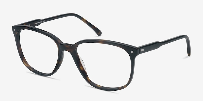 Lisbon Dark Tortoise Acetate Eyeglass Frames from EyeBuyDirect, Angle View