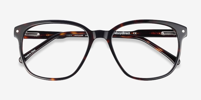 Lisbon Dark Tortoise Acetate Eyeglass Frames from EyeBuyDirect, Closed View