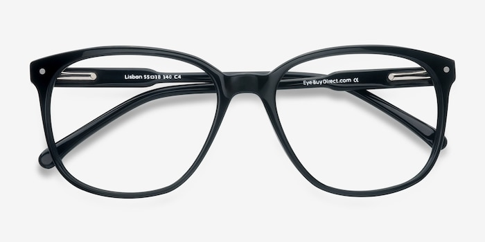 Lisbon Black Acetate Eyeglass Frames from EyeBuyDirect, Closed View