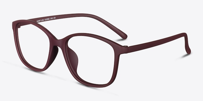 Saint Lou Burgundy Plastic Eyeglass Frames from EyeBuyDirect, Angle View