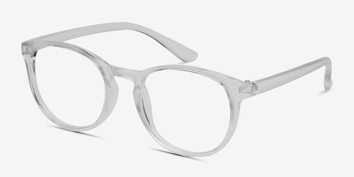 Little Muse Clear Plastic Eyeglass Frames from EyeBuyDirect, Angle View