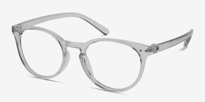 Little Morning Transparent Plastique Montures de Lunettes d'EyeBuyDirect, Vue d'Angle