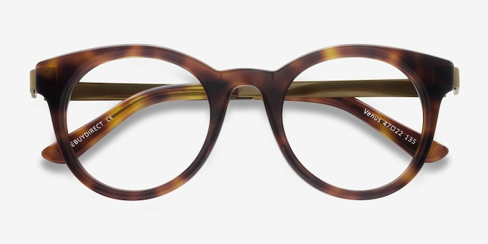 Venus Brown Tortoise Acetate Eyeglass Frames from EyeBuyDirect, Closed View