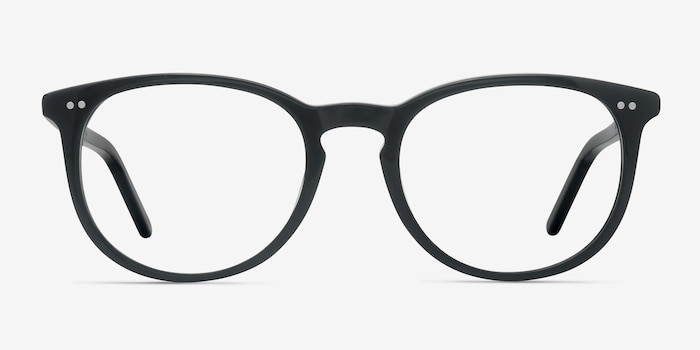 Aura Jet Black Acetate Eyeglass Frames from EyeBuyDirect, Front View