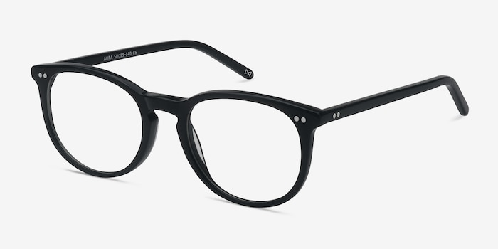 Aura Jet Black Acetate Eyeglass Frames from EyeBuyDirect, Angle View