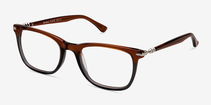 Rooibos Brown Acetate Eyeglass Frames from EyeBuyDirect, Angle View