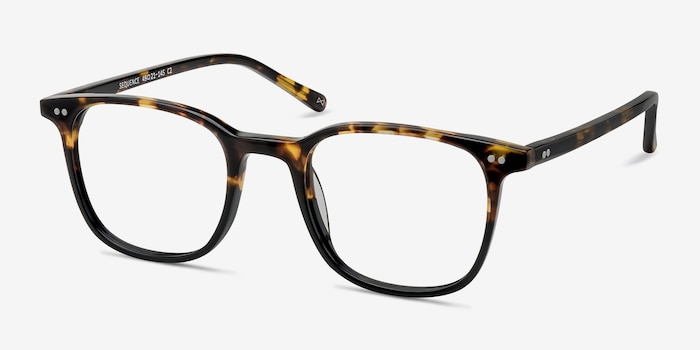 Sequence Amber Tortoise Acetate Eyeglass Frames from EyeBuyDirect, Angle View
