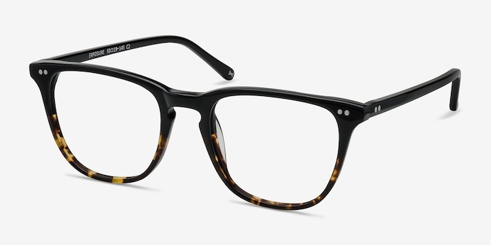 Exposure Jet Amber Acetate Eyeglass Frames from EyeBuyDirect, Angle View